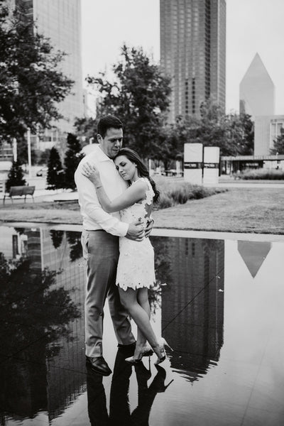 Black and White, Downtown Dallas Engagement, White Dress, White Button Down