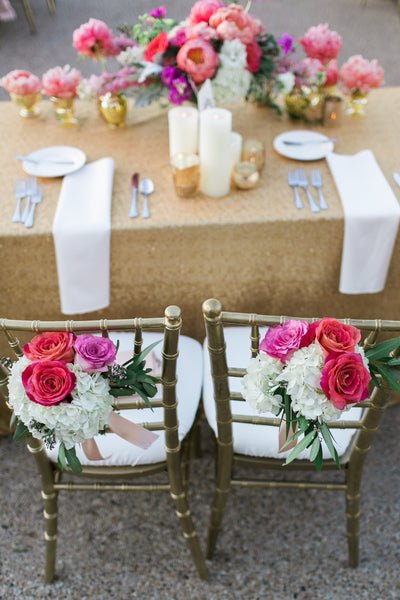 Mr. and Mrs. Chairs with Flowers, gold sequin linen, outdoor wedding reception