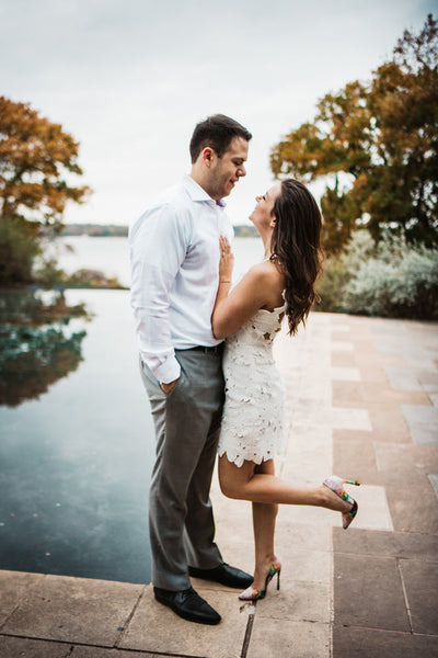 Dallas Arboretum Engagement, White Dress, White Button Down, Floral Heels
