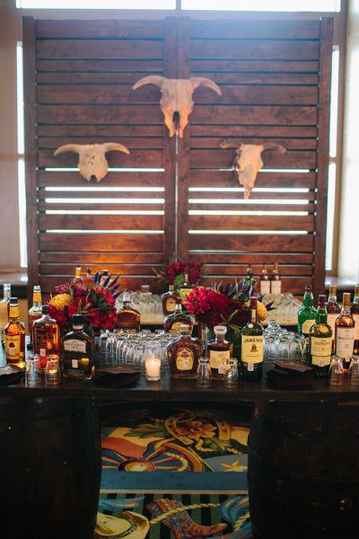 Custom Bourbon and Whiskey Bar with Skulls and Wine Barrels