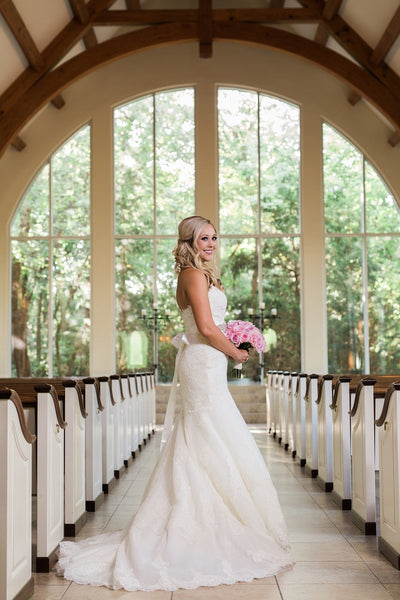Ashton Gardens, Chapel Bridal Portrait, White Lace Wedding Gown, Pink Bridal Bouquet