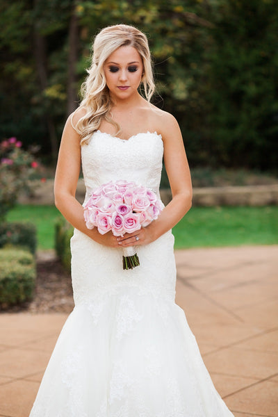 Ashton Gardens, Garden Bridal Portrait, White Lace Wedding Gown, Pink Bridal Bouquet