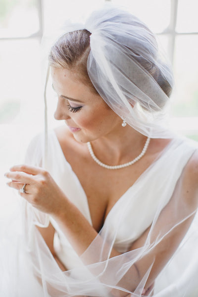Bridal Veil, Engagement Ring, White Couture Gown, Pearls