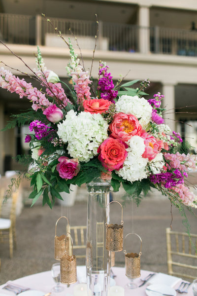 Tall wedding centerpiece, cream, blush, pink, purple, gold flowers