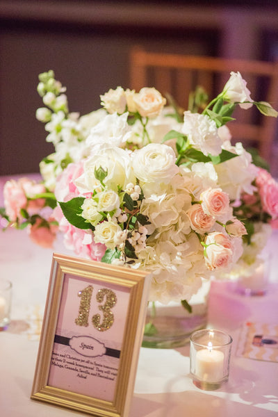 Low flower centerpiece pink and white wedding reception with table number