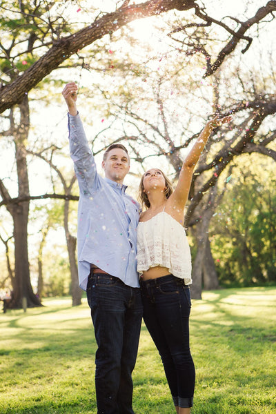 Fun Engagement Poses with Confetti