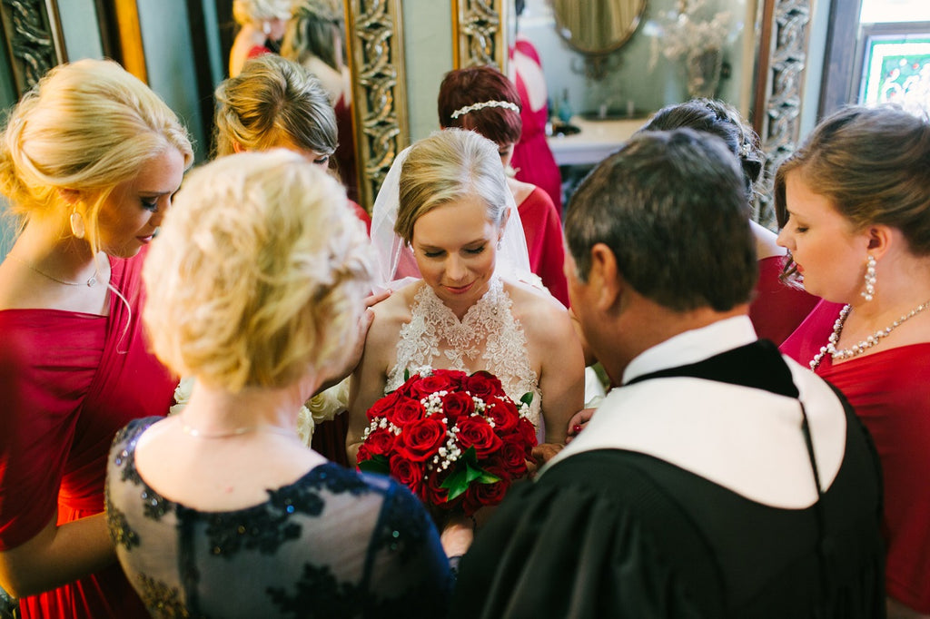 Red Bridesmaid Dresses, Bridal Updo, Pre-Ceremony prayer