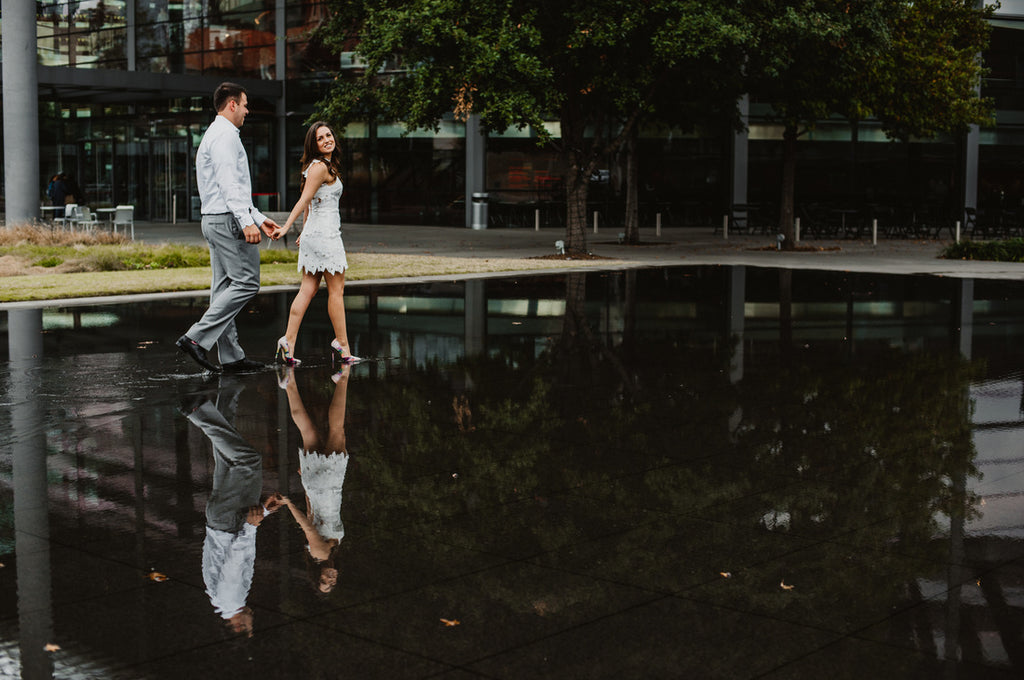 Dallas Engagement Session, Floral Heels, White Dress, Water
