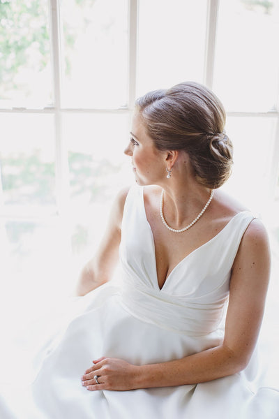 Classic Bridal Portraits, White Dress, Pearls, Bridal Portraits