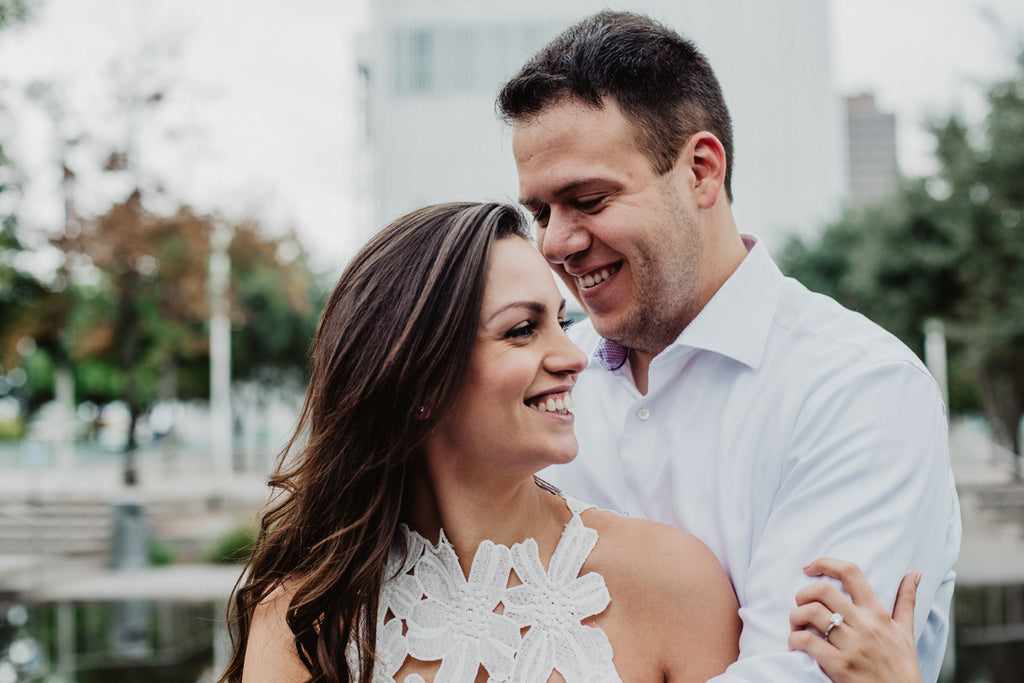 Downtown Dallas Engagements, White Dress, White Button Down Shirt