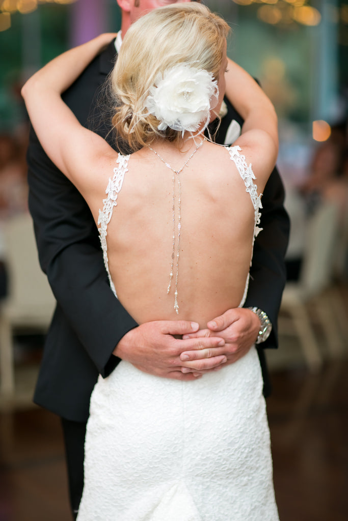 backless wedding dress back jewelry bride groom