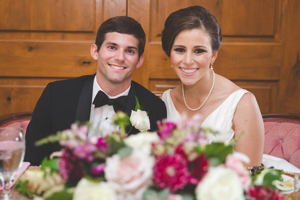 Bride and Groom, Black Tie, Couture Gown, Pearls, Updo, Blush Settee