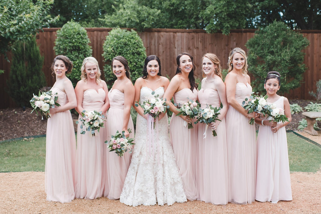 Blush Bridesmaids, White Wedding Gown, Garden Bridals, Chapel