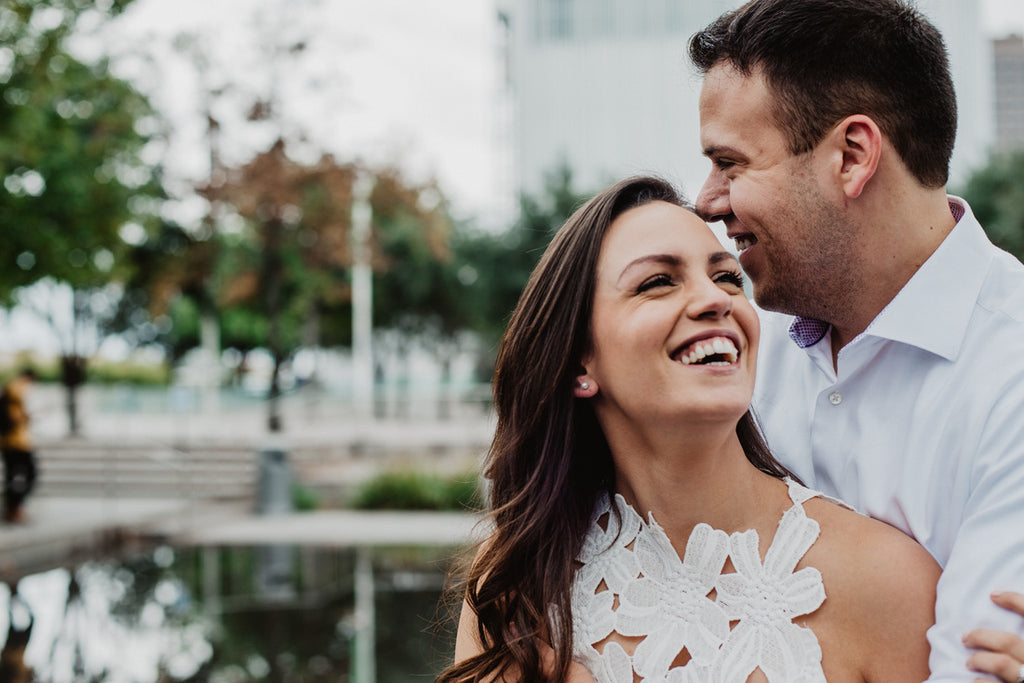 Downtown Dallas Engagement, White Dress, White Button Down