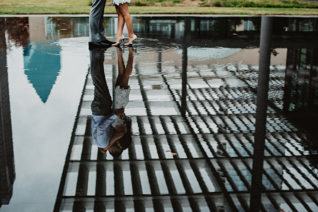 Dallas Engagement Session, Downtown Dallas, Water Pose, High Heels, White Dress