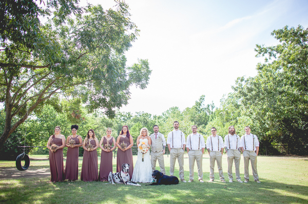 Mocha Bridesmaid Dresses, Linen Groomsmen Suits, Outdoor Texas Weddings