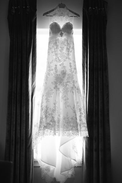 Black and White Wedding Gown Shot