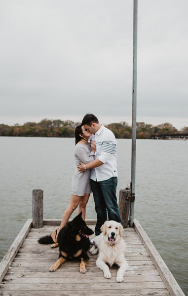 White Rock Lake Engagements, Casual Chic, Dog Poses, White Button Down, Lakeside Pics