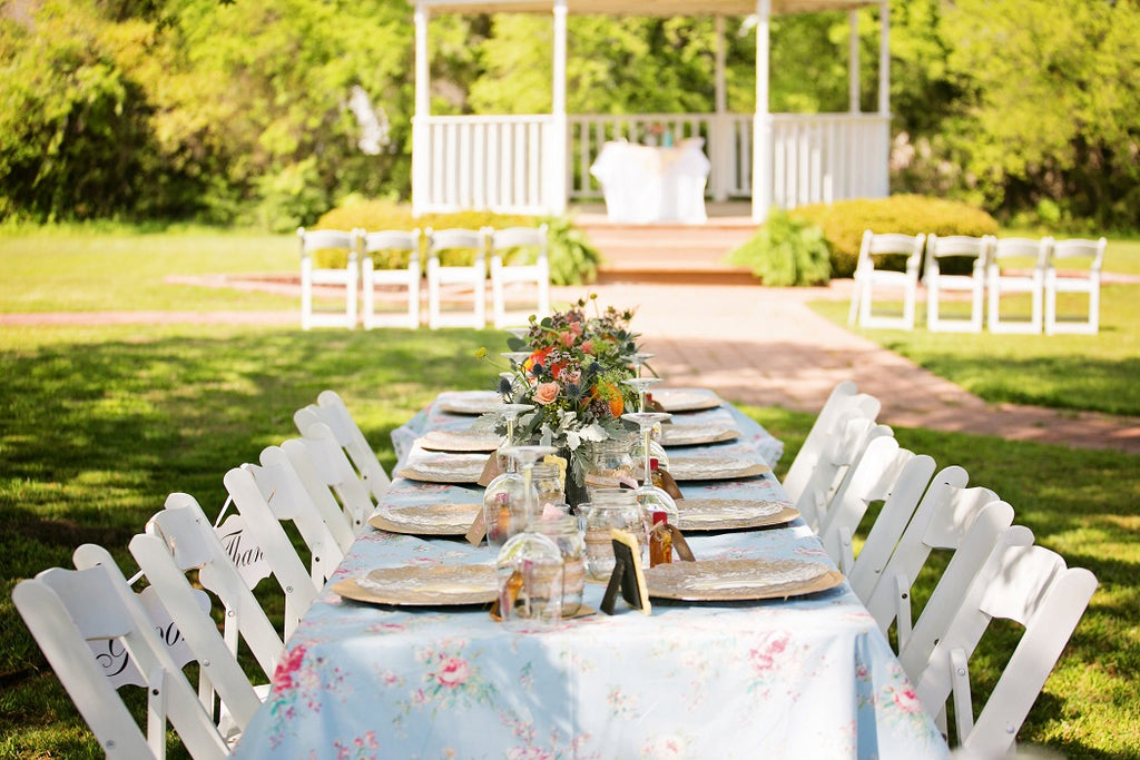 Gazebo, Floral Linens, White Garden Chairs, Burlap Chargers
