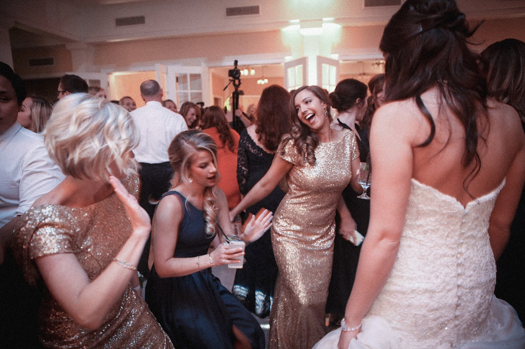 Fun Wedding Reception, Gold Sequin Bridesmaid Dresses