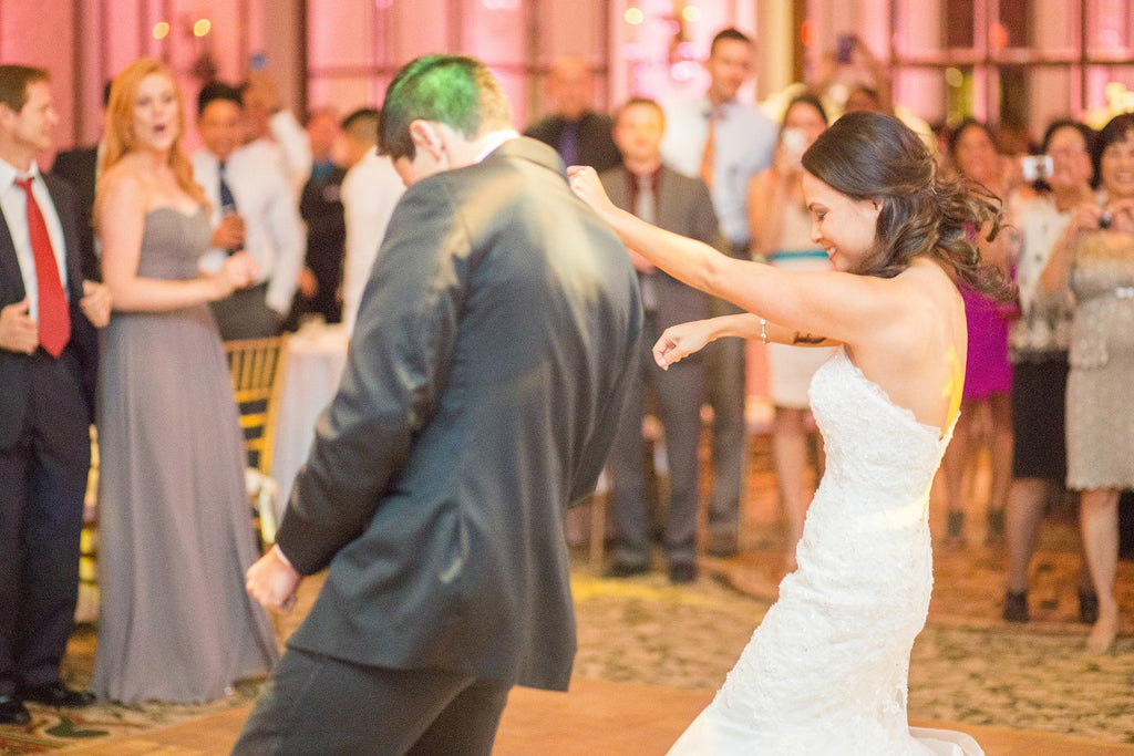 Bride and grom dancing