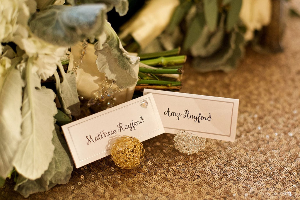 Place Card Holders, Blush Sequin Linen
