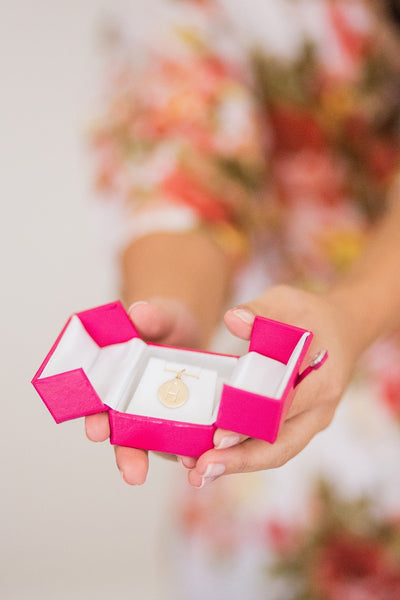 Hot pink wedding ring box