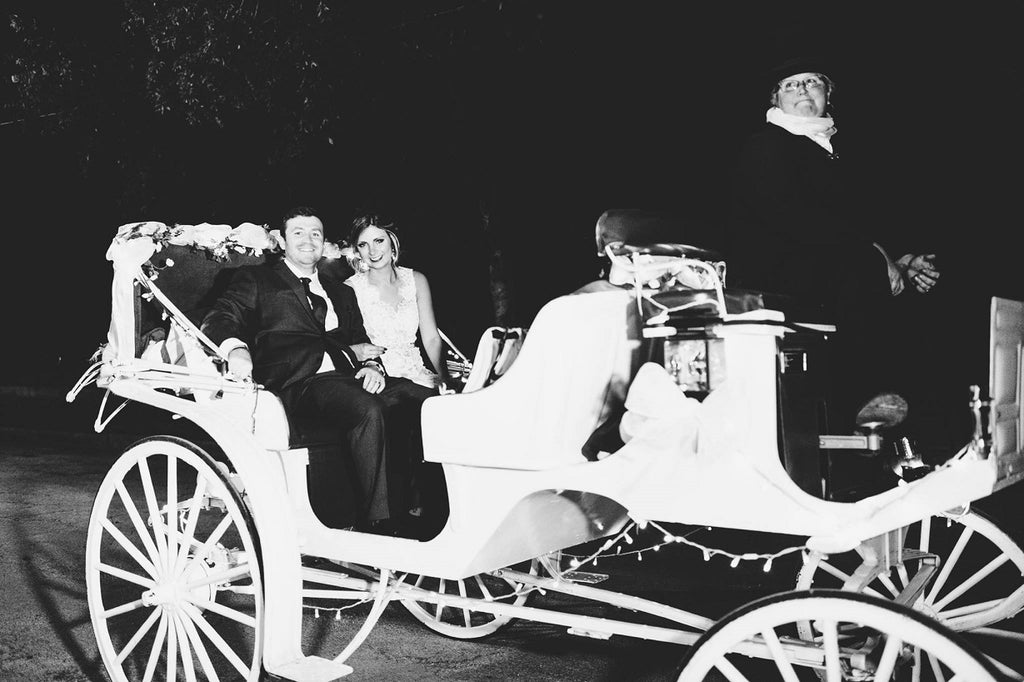 Horse and Carriage, Grand Exit, Black and White Wedding Photo