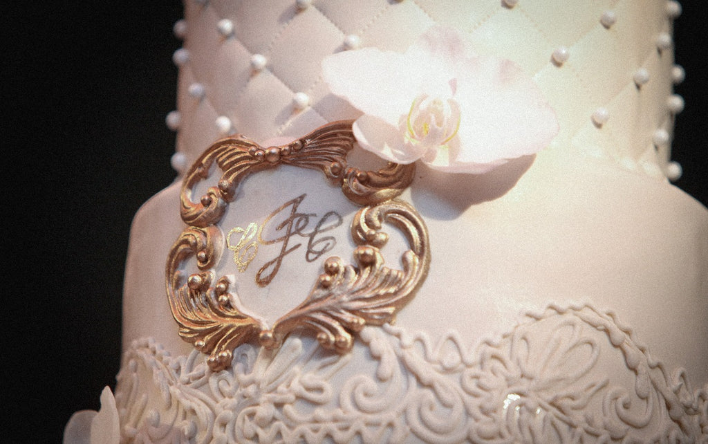 Custom Gold Monogrammed Wedding Cake