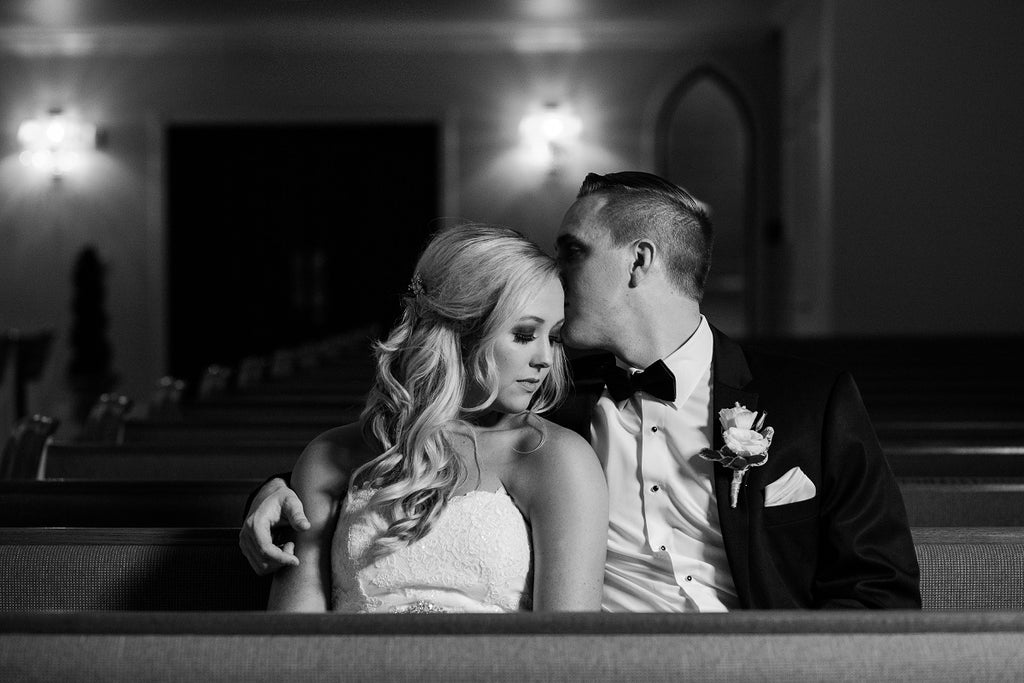 Black and White Wedding Shot, Bride and Groom Poses, Chapel