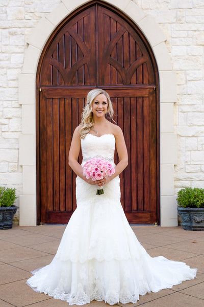 Ashton Gardens, Chapel, White Lace Wedding Gown, Pink Bridal Bouquet