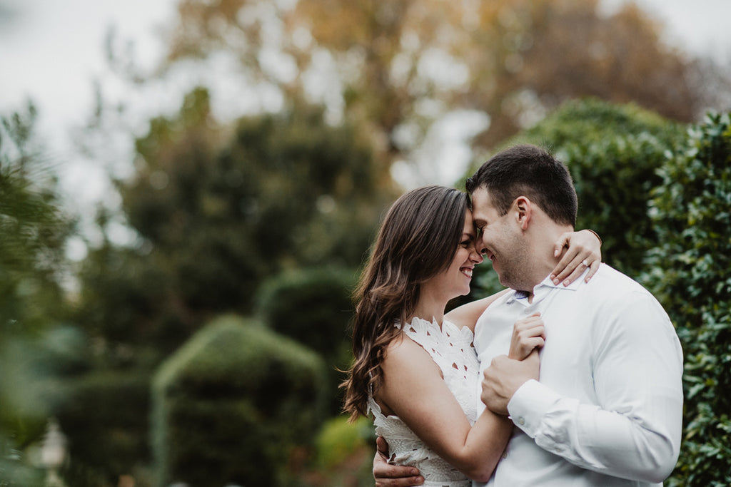 Dallas Arboretum Engagement, White Dress, White Button Down