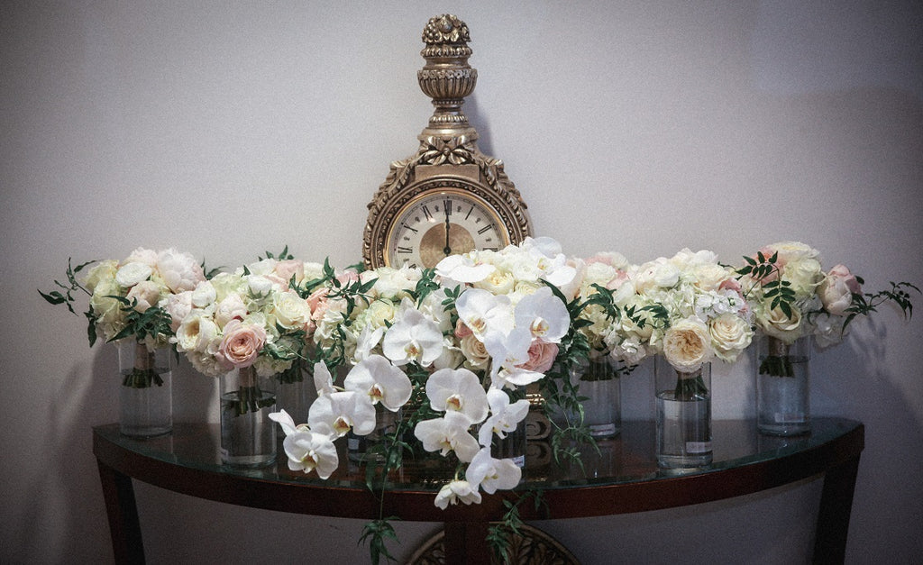 White Orchid wedding bouquets with white hydreangea and roses