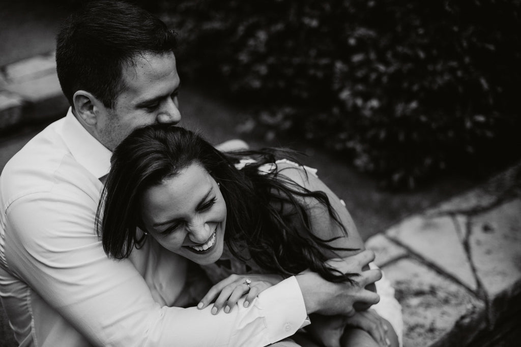 Black and White Pose, Dallas Arboretum Engagement, White Dress, White Button Down