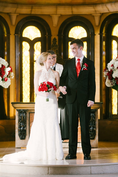 White Wedding Gown, Black Tux, Red Roses, Chapel Wedding