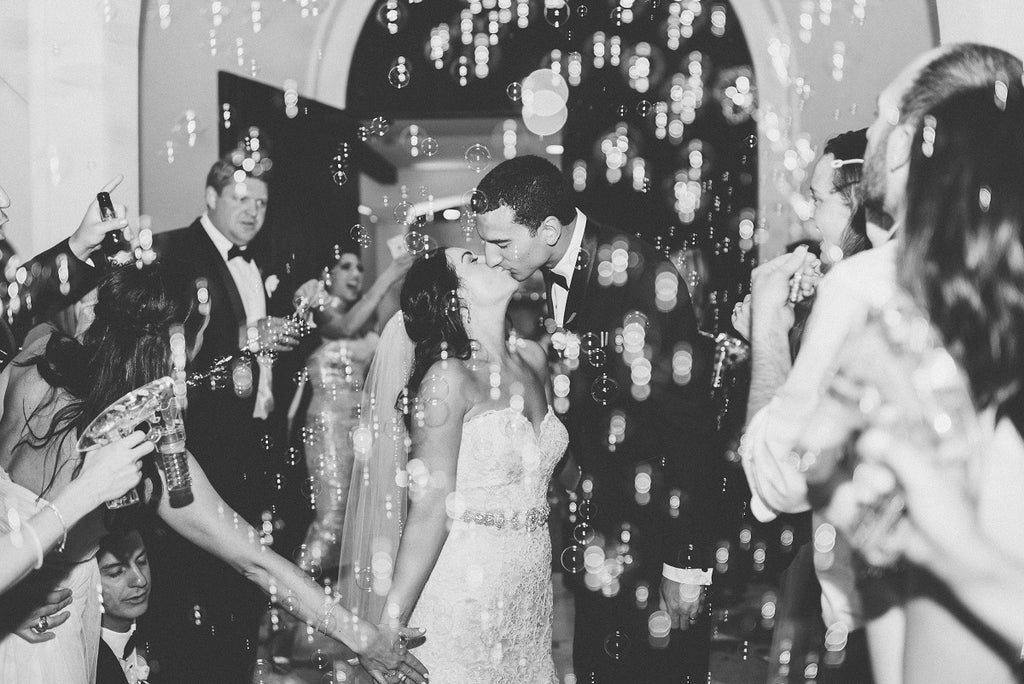 Black and White Wedding Photo, Bubble Grand Exit