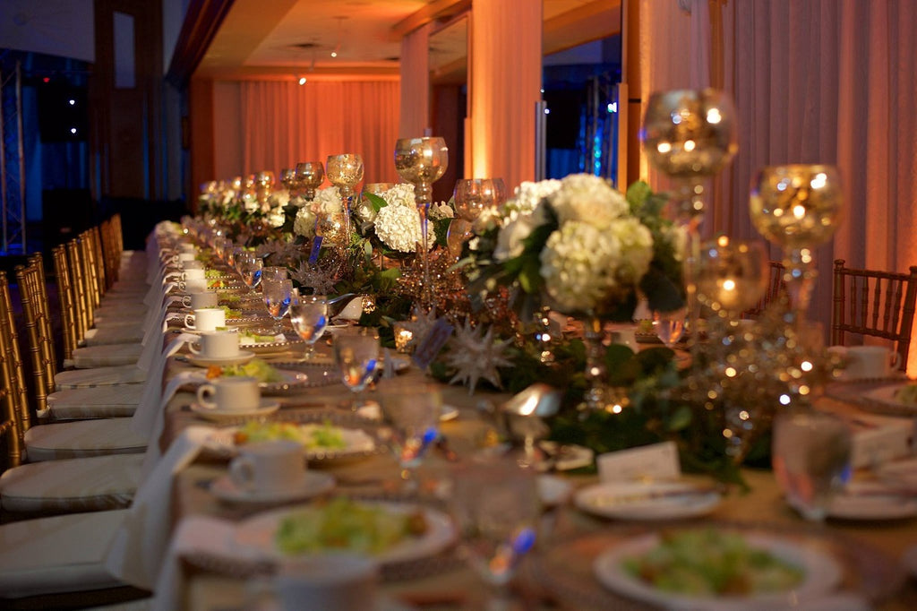 Banquet Table Layouts, Mercury Glass, White Roses, Blush Sequins