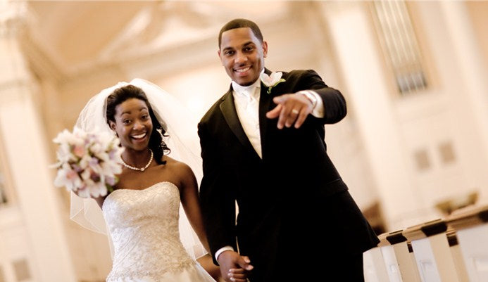 black couple wedding chapel tux