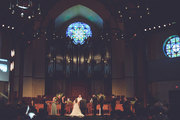 Picture of a wedding at a church in Richardson, Tx