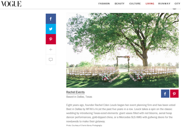 Rachel Events Featured with Vogue - Best Wedding Planners in the World