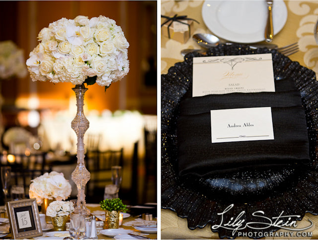 black chargers tall white wedding centerpieces formal