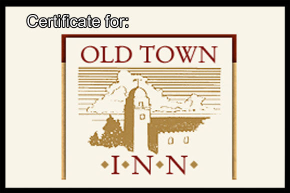 OLD TOWN INN 2-NIGHT STAY CERTIFICATE IN BEAUTIFUL SAN DIEGO, CA.