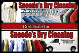 SNEEDO'S DRY CLEANING $20 CERTIFICATE