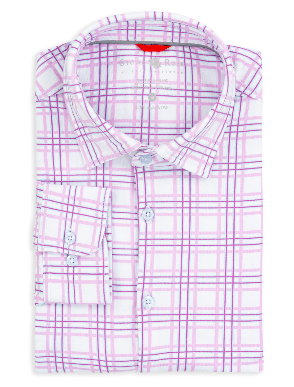 Pink Check Knit Performance Long Sleeve Shirt