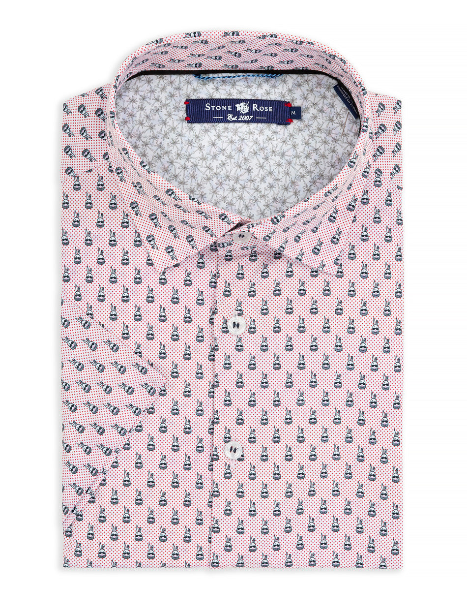 White Bunnies Print Short Sleeve Shirt