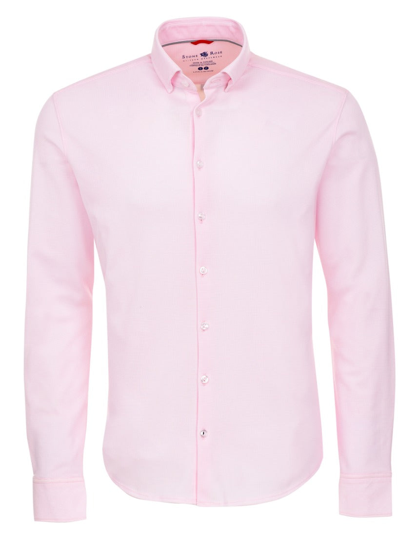 Pink Textured Knit Performance Long Sleeve Shirt