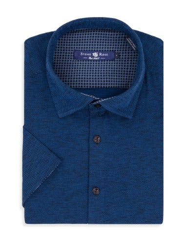 Navy Flame Knit Short Sleeve Shirt