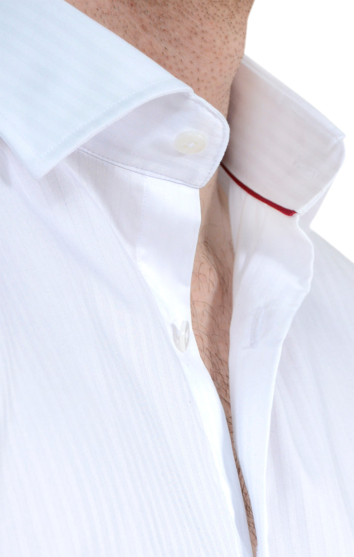 Tonal Stripe Button up Shirt in White