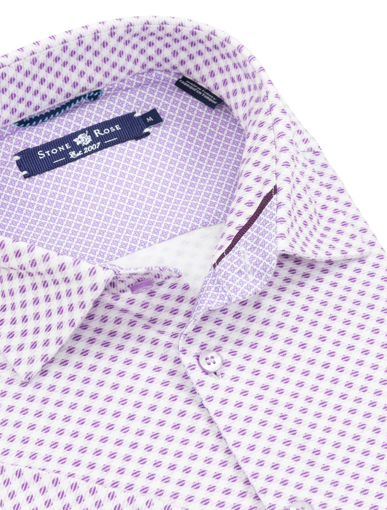 Purple Check Print Knit Short Sleeve Shirt