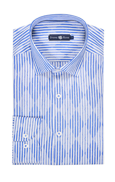 Blue Jacquard Striped Long Sleeve Shirt
